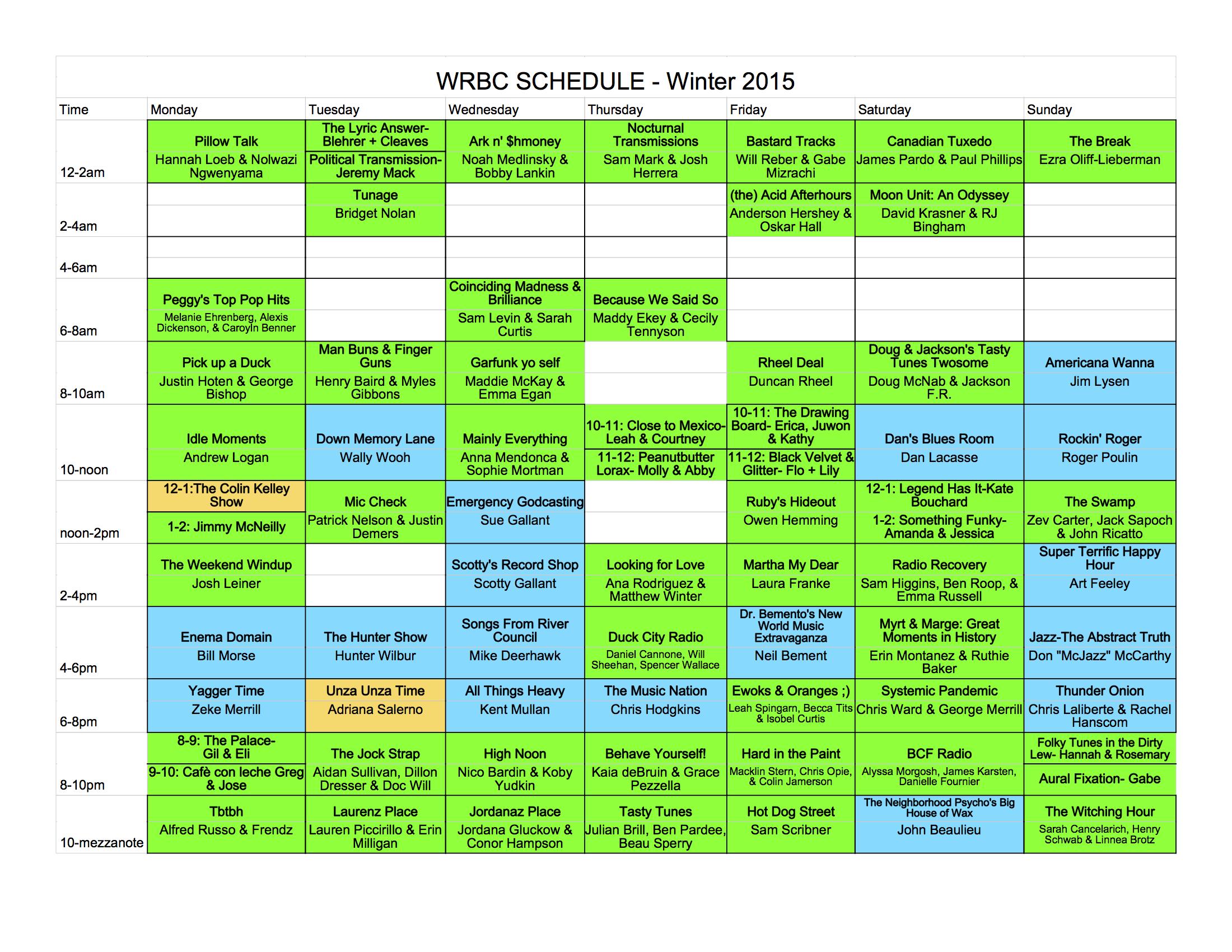 WRBC schedule 2015 - Sheet1